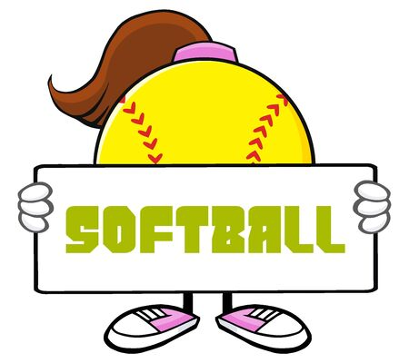 Softball Girl Faceless Cartoon Mascot Character Holding A Sign