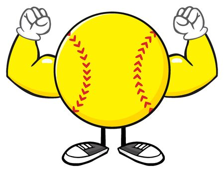 flexing: Softball Faceless Cartoon Mascot Character Flexing. Illustration Isolated On White Background Stock Photo