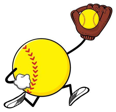 coger: Mascota de la historieta de softball sin rostro del personaje del jugador que se ejecuta con guante y pelota