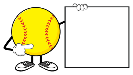 Softball Faceless Cartoon Mascot Character Pointing To A Blank Sign Stock Photo