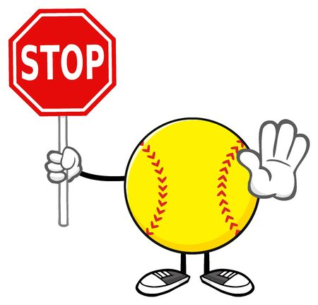 Softball Faceless Cartoon Mascot Character Gesturing And Holding A Stop Sign Stock Photo