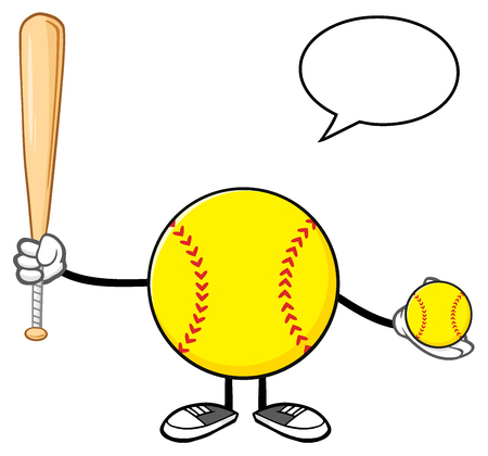 Softball Faceless Player Cartoon Mascot Character Holding A Bat And Ball With Speech Bubble