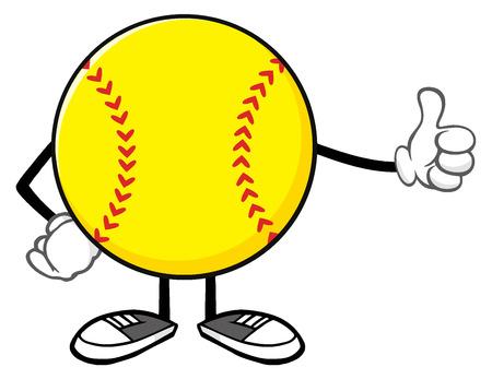 Softball Faceless Cartoon Mascot Character Giving A Thumb Up