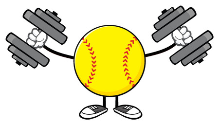 Softball Faceless Cartoon Mascot Character Working Out With Dumbbells