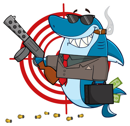 Smiling Shark Mobster Cartoon Mascot Character Carrying A Briefcase Holding Holding A Submachine Gun In Front Of A Target Stock Photo