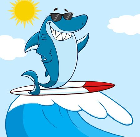 funny surfer: Smiling Blue Shark Cartoon Mascot Character With Sunglasses Surfing And Waving Over Wave