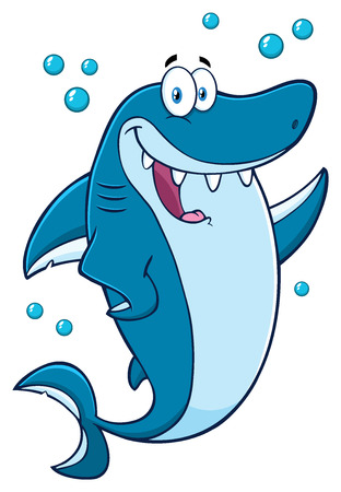 Happy Blue Shark Cartoon Mascot Character Waving For Greeting Banco de Imagens