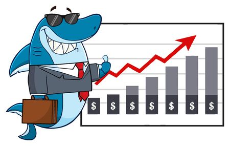 presentation board: Smiling Business Shark Cartoon Mascot Character Holding A Thumb Up To A Presentation Board With A Growth Chart