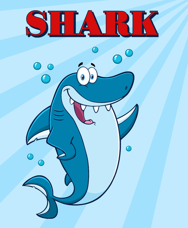 killer waves: Happy Blue Shark Cartoon Mascot Character Waving For Greeting Under Water. Illustration With Blue Sunburst Background And Text Stock Photo