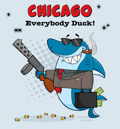 mobster: Smiling Shark Mobster Cartoon Character Carrying A Briefcase Holding A Big Gun And Smoking A Cigar. With Gray Halftone Background And Text Chicago