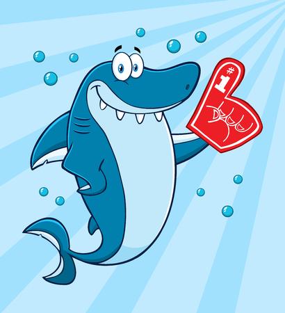 finger fish: Smiling Blue Shark Cartoon Mascot Character Wearing A Foam Finger