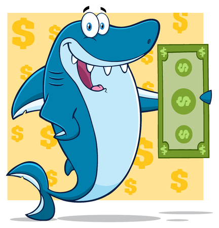 Happy Blue Shark Cartoon Mascot Character Holding A Dollar Bill. Illustration With Yellow Background With Dollar Symbols Stock Photo