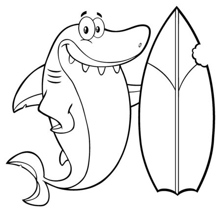 funny surfer: Black And White Smiling Shark Cartoon Mascot Character With Surfboard