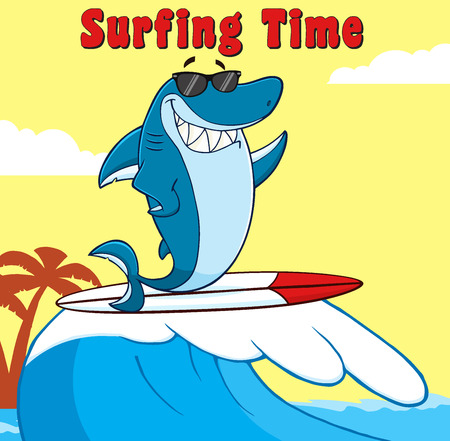 killer waves: Smiling Blue Shark Cartoon Character With Sunglasses Surfing And Waving. Illustration With Background And Text Surfing Time Stock Photo