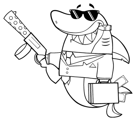 Black And White Smiling Shark Gangster Cartoon Mascot Character Carrying A Briefcase Holding A Big Gun And Smoking A Cigar Stock Photo