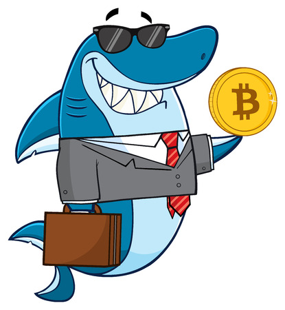 Smiling Business Shark Cartoon Mascot Character In Suit, Carrying A Briefcase And Holding A Golden Bitcoin