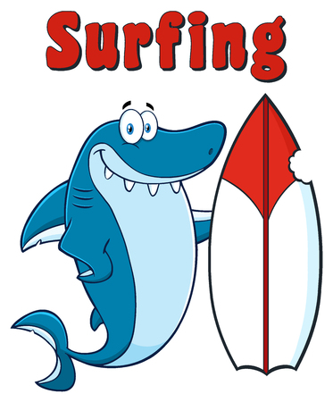 Happy Blue Shark Cartoon Mascot Character With Surfboard And Text Surfing