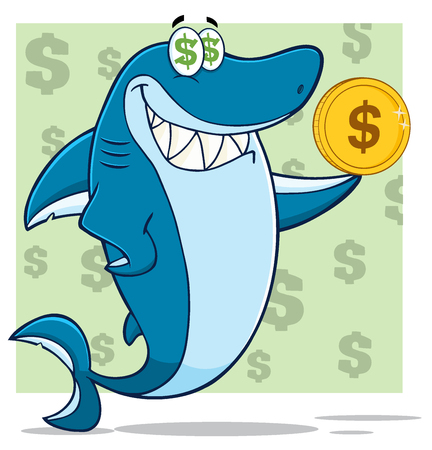 Greedy Blue Shark Cartoon Character Holding A Golden Dollar Coin. Illustration With Green Background With Dollar Symbols