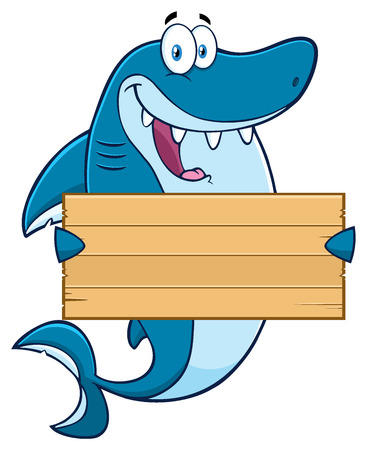 gills: Happy Blue Shark Cartoon Mascot Character Holding A Wooden Blank Sign Stock Photo
