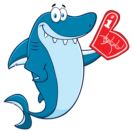 finger fish: Cute Blue Shark Cartoon Mascot Character Wearing A Foam Finger