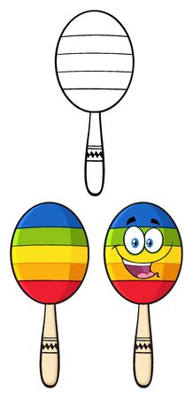 Colorful Mexican Maracas Cartoon Mascot Character.Set Collection Isolated On White Stock Photo
