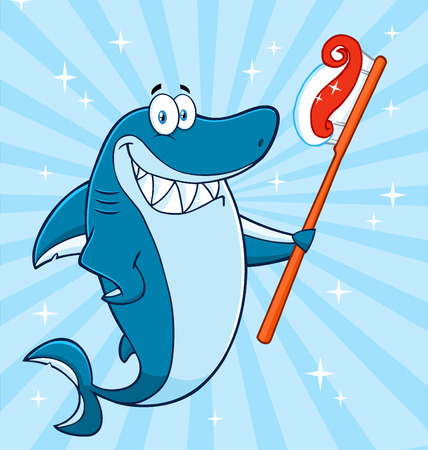 Smiling Blue Shark Cartoon Mascot Character Holding A Toothbrush With Paste. Illustration With Blue Sunburst Background