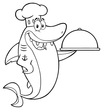 Black And White Chef Blue Shark Cartoon Mascot Character Holding A Platter
