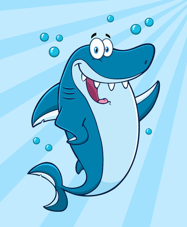 killer waves: Happy Blue Shark Cartoon Mascot Character Waving For Greeting Under Water. Illustration With Blue Sunburst Background