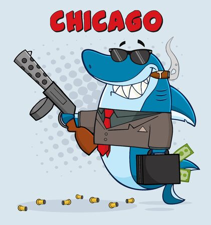 mobster: Smiling Shark Gangster Character Carrying A Briefcase Holding A Big Gun And Smoking A Cigar. With Gray Halftone Background And Text Chicago