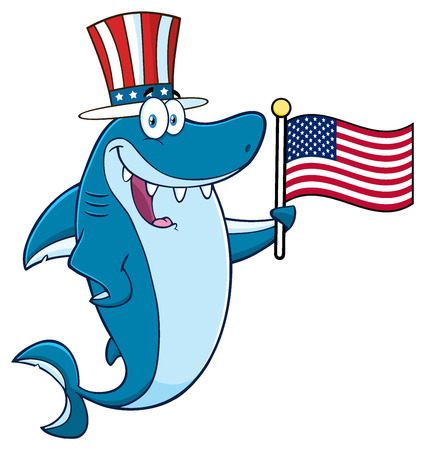 Happy Blue Shark Cartoon Mascot Character With Patriotic Hat Holding An American Flag