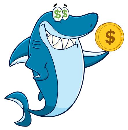 greedy: Greedy Shark Cartoon Mascot Character Holding A Golden Dollar Coin