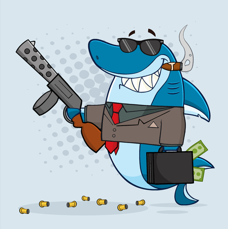 Smiling Shark Gangster Cartoon Mascot Character Carrying A Briefcase Holding A Big Gun And Smoking A Cigar. With Gray Halftone Background