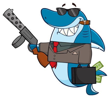 weapons: Smiling Shark Gangster Cartoon Mascot Character Carrying A Briefcase Holding A Big Gun And Smoking A Cigar