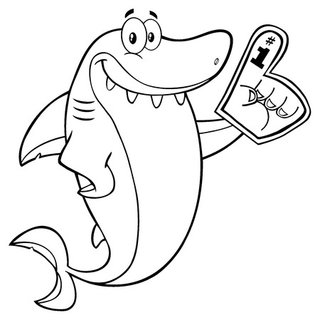 gills: Black And White Cute Shark Cartoon Mascot Character Wearing A Foam Finger. Illustration Isolated On White Background Stock Photo