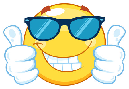 Smiling Yellow Emoticon Cartoon Mascot Character With Sunglasses Giving Two Thumbs Up Stockfoto