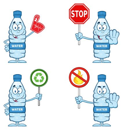 distilled: Water Plastic Bottle Cartoon Mascot Character 5. Set Collection Isolated On White Background