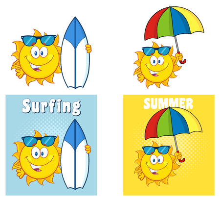 Sun Cartoon Mascot Character 29. Set Collection Isolated On White Background Stock Photo