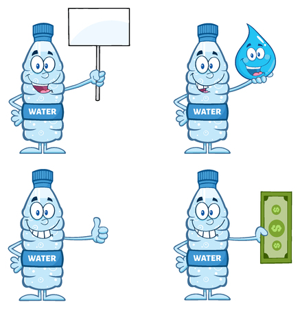 Water Plastic Bottle Cartoon Mascot Character 6. Set Collection Isolated On White Background Banco de Imagens