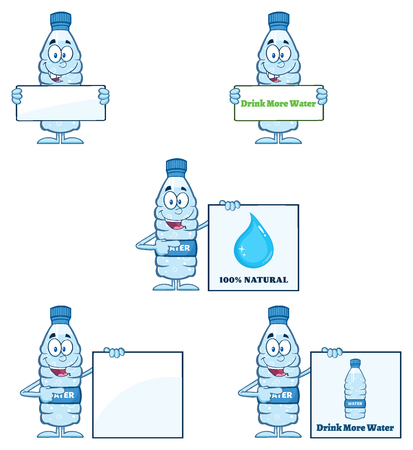 distilled: Water Plastic Bottle Cartoon Mascot Character 4. Set  Collection Isolated On White Background Stock Photo