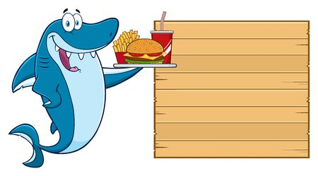 Cute Blue Shark Cartoon Mascot Character Holding A Platter With Burger, French Fries And A Soda To Wooden Blank Board