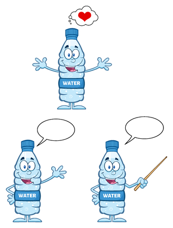 recycle plastic: Water Plastic Bottle Cartoon Mascot Character 2. Set  Collection Isolated On White Background