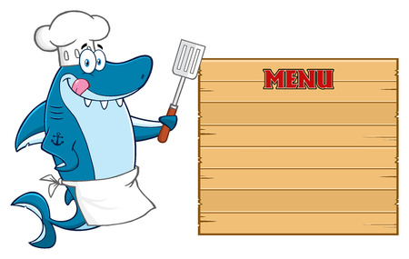 licking: Chef Blue Shark Cartoon Mascot Character Licking His Lips And Holding A Spatula To Wooden Blank Board With Text Menu Stock Photo