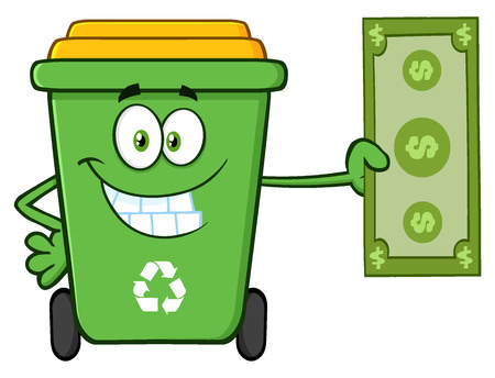 Smiling Green Recycle Bin Cartoon Mascot Character Holding A Dollar Bill