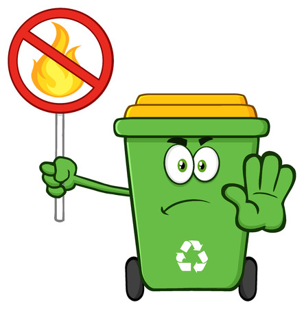 Angry Green Recycle Bin Cartoon Mascot Character Gesturing Stop And Holding A Fire Restricted Sign