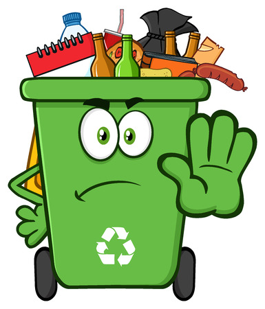 garbage bag: Angry Green Recycle Bin Cartoon Mascot Character Full With Garbage Gesturing Stop