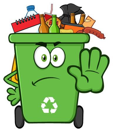 basura: Enojado mascota de la historieta papelera de reciclaje verdes del carácter completo con la basura parada de gestos Foto de archivo