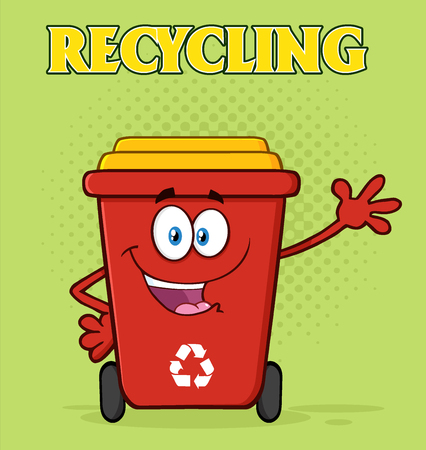 Happy Red Recycle Bin Cartoon Mascot Character Waving For Greeting. Illustration With Green Halftone Background And Text Recycling