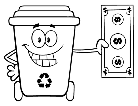 Black And White Smiling Recycle Bin Cartoon Mascot Character Holding A Dollar Bill Stock Photo