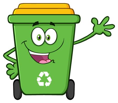 recycle bin: Mascota de la historieta Papelera de reciclaje verde feliz del carácter Agitando para el saludo. Ilustración sobre fondo blanco