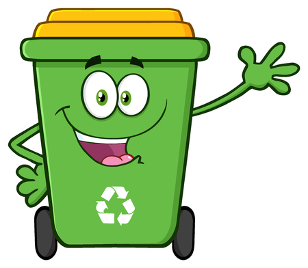 Happy Green Recycle Bin Cartoon Mascot Character Waving For Greeting. Illustration Isolated On White Background Stock Photo